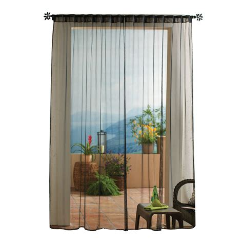 outdoor window curtains shop solaris 108 in l black mesh outdoor window sheer
