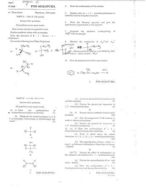 Madras Mba Question Papers With Answers Pdf by Of Madras General Organic Chemistry 1 May 2008