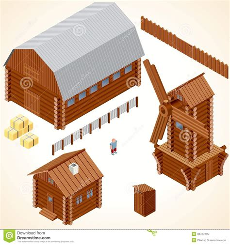 Puzzle Tombol Farm Fence Windmill isometric wooden cabins and house vector clip stock