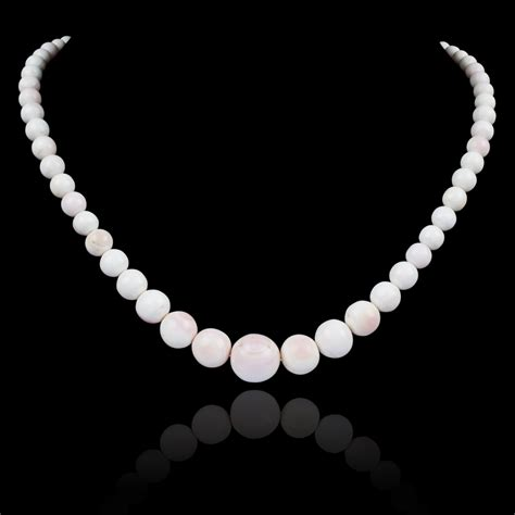 white coral bead necklace graduated white coral bead necklace expertissim