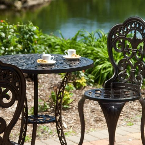 Outdoor Bistro Table And Chairs by 3 Cast Aluminum Outdoor Bistro Set With Table And 2
