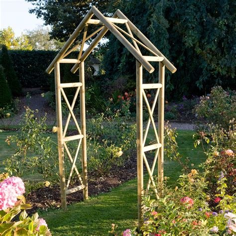 B Q Garden Decoration by Blooma Softwood Apex Top Arch Departments Diy At B Q