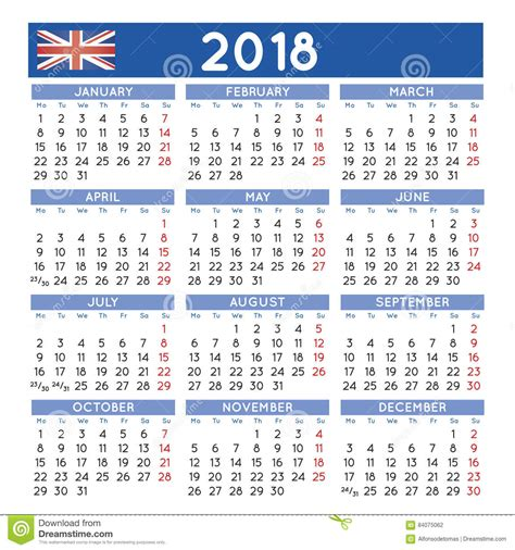 Hungary Calend 2018 2018 A Ajust 233 Des D 233 Buts Britanniques Anglais De Semaine