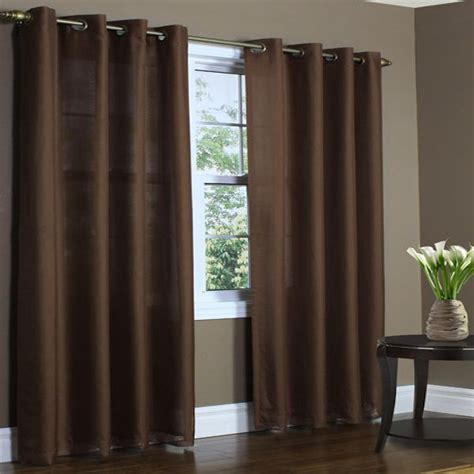 lined sheer curtains rhapsody chocolate thermavoile semi sheer lined grommet