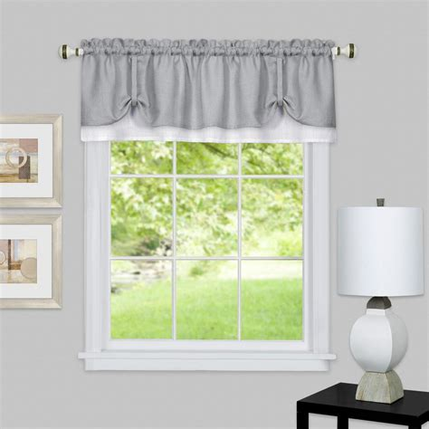 grey valance curtains home decorators collection 15 in l monaco lined polyester