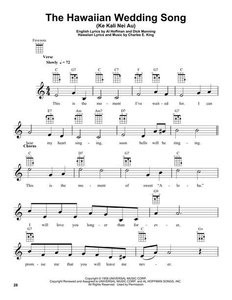 Wedding Song Piano Chords by The Hawaiian Wedding Song Ke Kali Nei Au Sheet