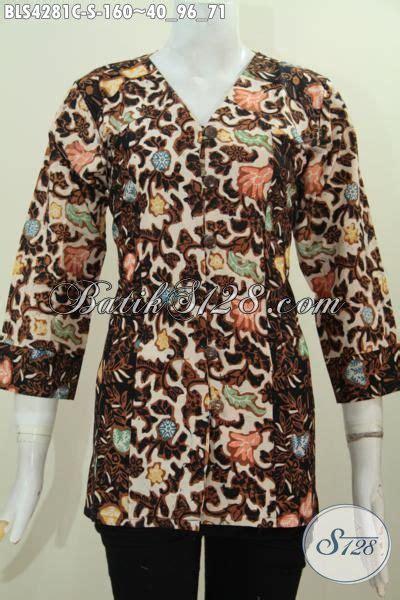 desain baju wanita keren baju blus batik keren desain dua warna kombinasi pakaian