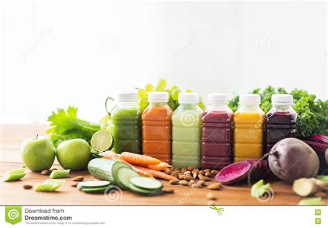 Detoxing From Polypropeline Treats by Bottles With Different Fruit Or Vegetable Juices Stock