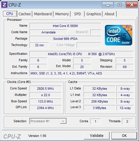 core i5 560m cpu z shows only 1 core? core laptop tech
