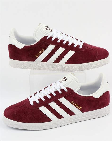 Adidas Gazelle Maroon adidas gazelle trainers maroon white originals shoes mens