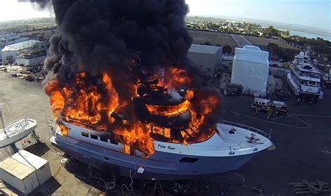 boat marina fails boat fail 24m superyacht fire caught on drone camera