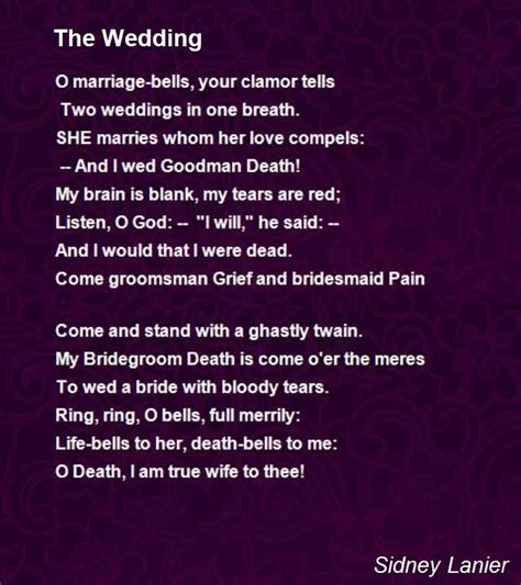 Wedding Quotes By Poets by The Wedding Poem By Sidney Lanier Poem