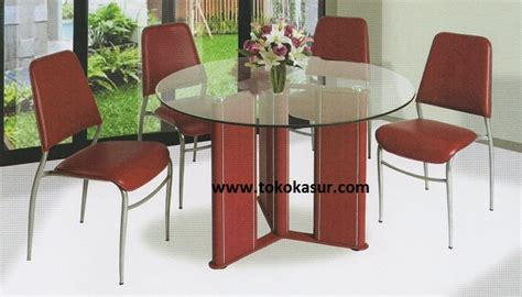 Meja Makan Bulat Kaca 4 Kursi meja makan besi kaca minimalis murah