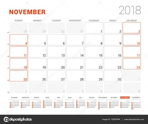 Calendar 2018 Year Vector Design Stationery Stock Vector | calendar template for 2018 year november business