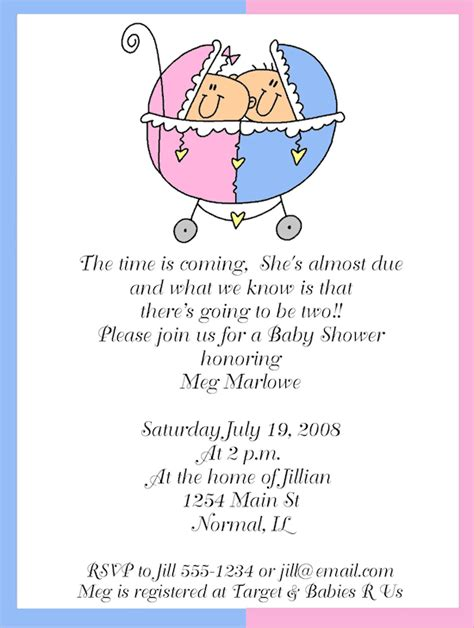 baby shower invitations templates for twins baby shower invitations for twins boy and girl
