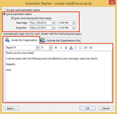 Auto Reply by Set Automatic Reply Out Of Office Message In Outlook 2013