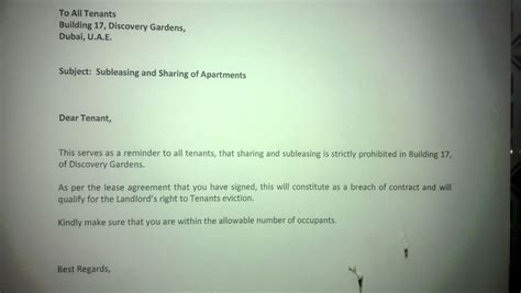 Termination Letter Format Dubai End Of Apartments In Dubai Landlords Warn Tenants Emirates 24 7