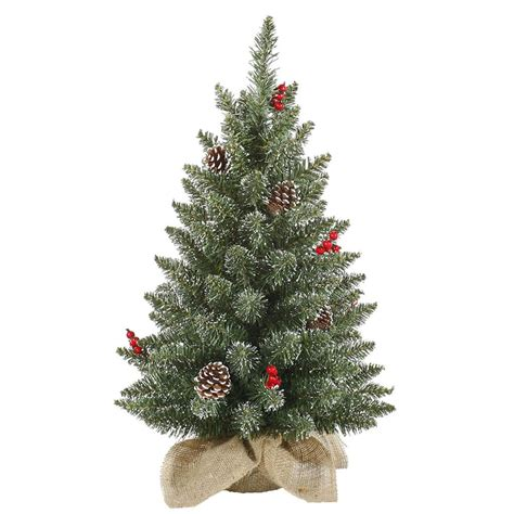 tabletop tn volunteer christmas tree vickerman 27727 2 x 14 quot frosted pine with white tip cones and shiny berries