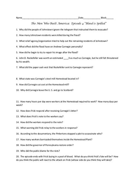 The Who Built America Worksheet Key