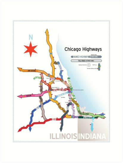 chicago expressways map quot chicago highway names quot prints by dean dunakin redbubble