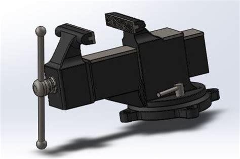 bench vise drawing swivel bench vise step iges solidworks 3d cad model