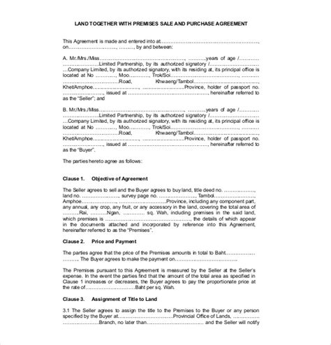 land agreement template 15 sales agreement templates free sle exle