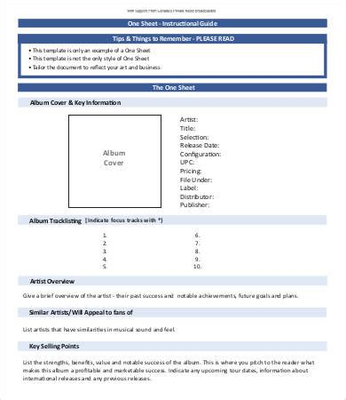 one sheet template one sheet template 12 free word pdf documents
