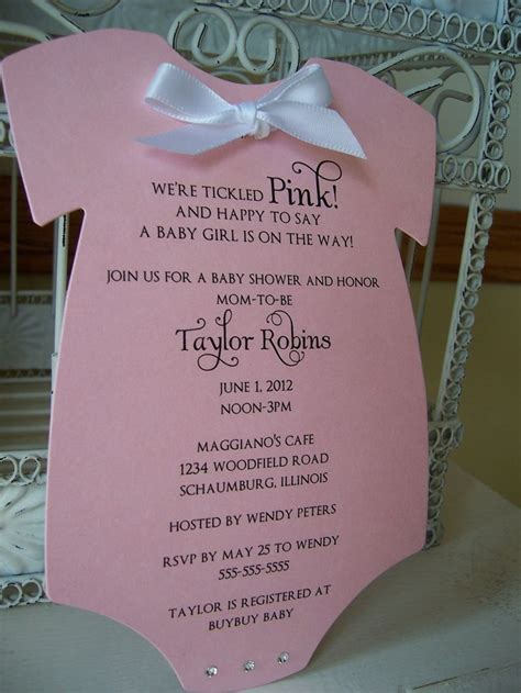 pink onesie baby shower invitations images the original think pink baby shower invitation custom