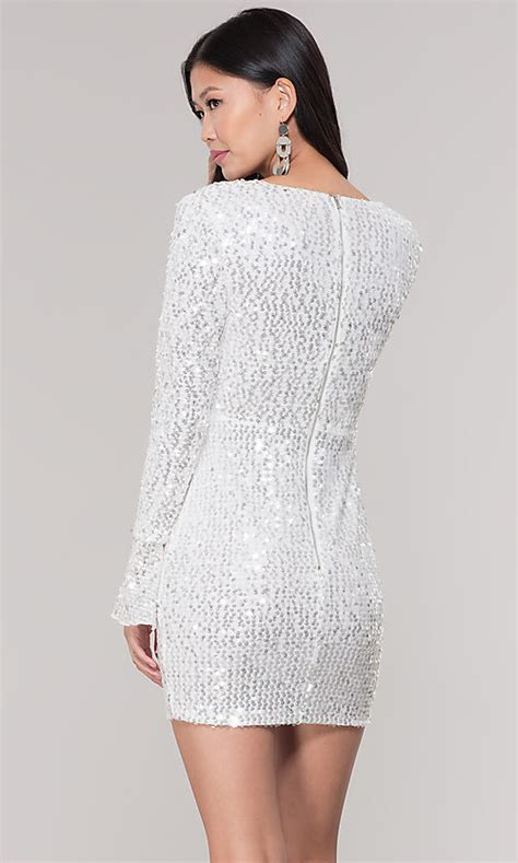 white sequin long sleeve short holiday party dress