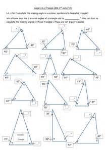 Interior And Exterior Angles Of Triangles Worksheets by Angles In A Triangle Worksheet 4 Diff Levels Triangles