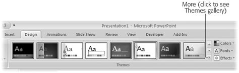 the themes gallery is located on the ribbon tab 1 creating a basic presentation powerpoint 2007 the