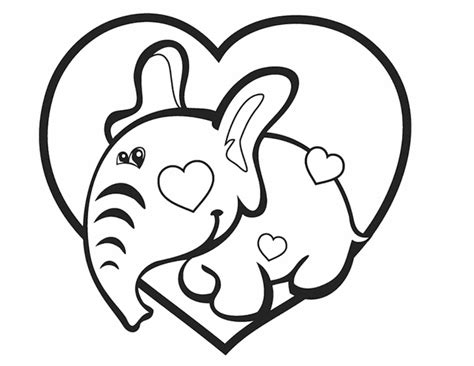 elephant valentine coloring pages valentine elephant hearts free colouring pages