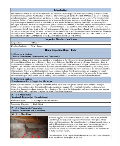 home inspection report template pdf 39 inspection report exles