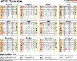 2018 Year At A Glance Calendar 2018 Calendar Pdf 17 Free Printable Calendar Templates