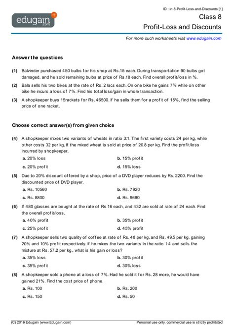 Discount Worksheets by Grade 8 Math Worksheets And Problems Profit Loss And
