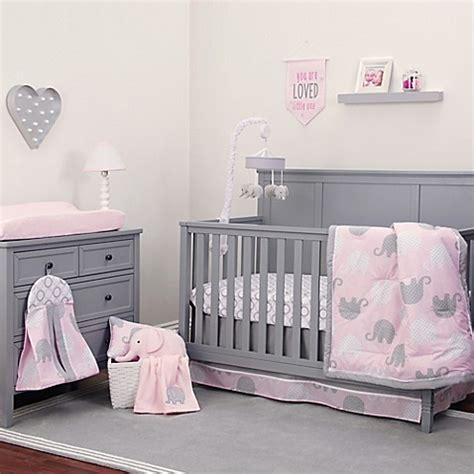 Nojo 174 Dreamer Elephant Crib Bedding Collection In Pink Pink And Gray Nursery Bedding Sets