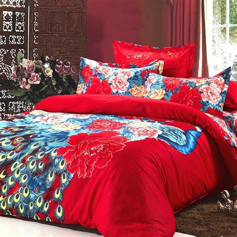 Peacock Print Bedding Set Blue And Colorful Vintage Floral And Animal Peacock Print Wedding 100 Cotton