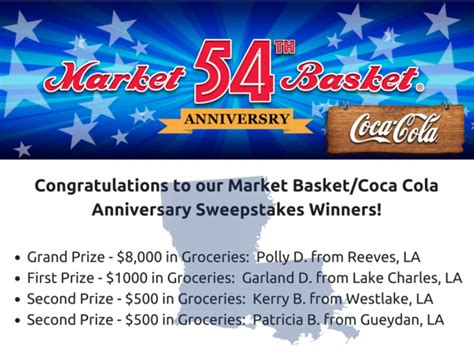Market Basket Sweepstakes - congrats to our 54th anniversary sweepstakes winners market basket