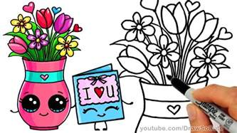 how to draw a vase with flowers and card step by step