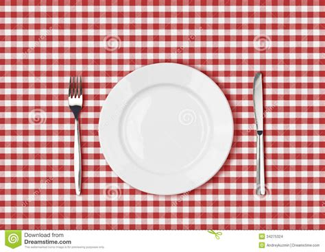 Kitchen Forks And Knives Knife White Plate And Fork On Red Picnic Table Cloth