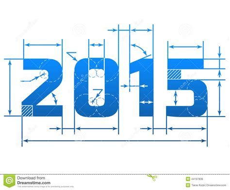 new year elements 2015 new year 2015 number with dimension lines stock vector