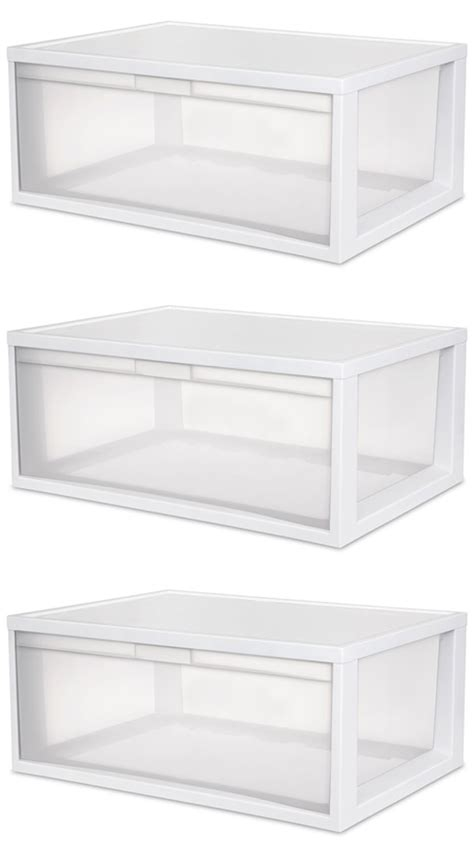 Clear Storage Drawers Stackable by 3 Sterilite 23758003 Large Modular Stacking Storage
