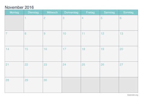 Kalender 2016 Nov Kalender November 2016 Zum Ausdrucken Ikalender Org