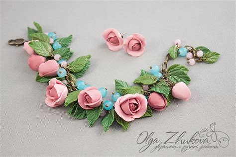 dough jewelry bracelet with roses from polymer clay by polyflowers on