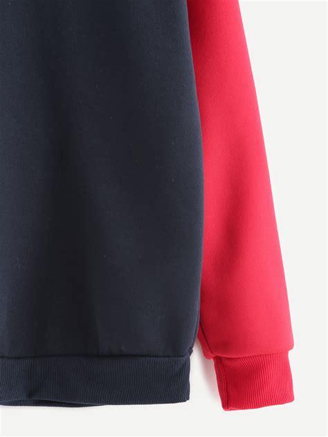 Sleeve Letter Print contrast sleeve letter print sweatshirt shein sheinside