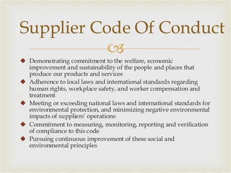 Starbucks Supply Chain Vendor Code Of Conduct Template