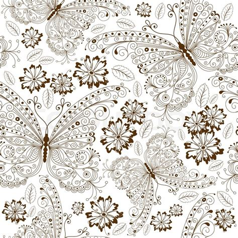 floral pattern repeat vector repeating white floral pattern with vintage brown