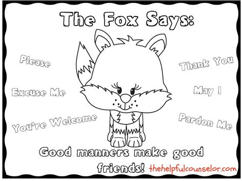 manners matter what does the fox say coloring page