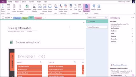 microsoft onenote 2013 training using templates