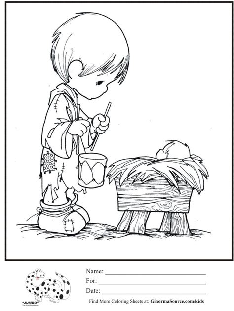 Coloring page precious moments little drummer boy baby jesus coloring